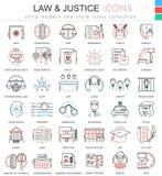 Vector la línea ultra moderna iconos del esquema del color de la ley y de la justicia para los apps y el diseño web Foto de archivo libre de regalías
