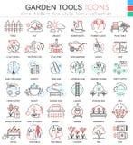 Vector la línea ultra moderna iconos del esquema del color de los utensilios de jardinería para los apps y el diseño web Imagen de archivo libre de regalías