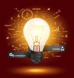 Vector la lampadina creativa con i grafici ed i grafici del disegno Fotografie Stock Libere da Diritti
