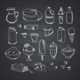 Vector la leche o la mano fijada de los productos lácteos dibujada libre illustration