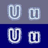 Vector la letra U en fondo gris y azul Fotos de archivo libres de regalías