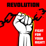 Vector la libertà, fondo di concetto di protesta di rivoluzione con il pugno alzato Fotografia Stock Libera da Diritti