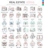 Vector la linea di colore dei beni immobili icone del profilo per i apps ed il web design Icone dei beni immobili Fotografie Stock Libere da Diritti