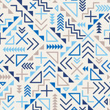 Vector la linea geometrica modello blu di retro miscuglio senza cuciture degli anni 80 dei pantaloni a vita bassa di forme su Gre Fotografia Stock