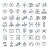 Vector la linea icona per il commercio elettronico, la logistica, l'importazione & l'esportazione di affari illustrazione vettoriale