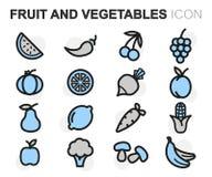 Vector la linea piana frutta e le icone delle verdure messe Immagini Stock