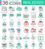 Vector la linea piana icone di colore moderno dei beni immobili del profilo per i apps ed il web design Icone di Real Estate Fotografie Stock