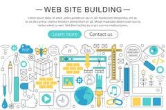Vector la linea sottile elegante concetto moderno piano della costruzione del sito Web Fotografia Stock