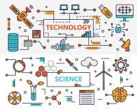 Vector la linea sottile insegne di progettazione di concetto piano della tecnologia e di scienza royalty illustrazione gratis