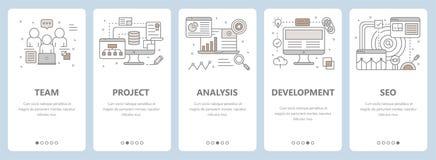 Vector la linea sottile la progettazione piana, lo sviluppo di web, insegne di concetto di seo illustrazione di stock