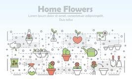 Vector la linea sottile modello dell'insegna del manifesto dei fiori della casa di arte illustrazione di stock
