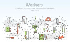 Vector la linea sottile modello dell'insegna del manifesto dei lavoratori di arte illustrazione di stock