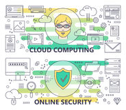 Vector la linea sottile moderna computazione della nuvola ed insegne online di sicurezza royalty illustrazione gratis