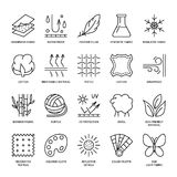 Vector la línea iconos de característica de la tela, símbolos de la propiedad de la ropa Elementos - algodón, lana, prenda imperm Fotografía de archivo