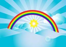 Vector la luce solare e l'arcobaleno con la nuvola su cielo blu Fotografia Stock Libera da Diritti