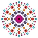 Vector la mandala adulta del modello del libro da colorare fiorisce colorato - fondo floreale Fotografia Stock