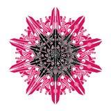 Vector la mandala, ornamento geométrico redondo, estampado de flores estilizado Elemento aislado del diseño colorido en un blanco Imágenes de archivo libres de regalías