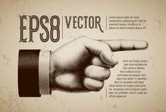 Vector la mano con indicare il dito nello stile dell'incisione royalty illustrazione gratis