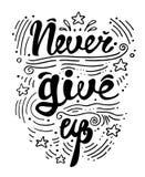 Vector la mano del ejemplo dibujada poniendo letras al cartel de motivación e inspirado de la tipografía con cita Nunca dé para a imagen de archivo libre de regalías
