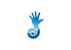 Vector la mano di logo, la mano piana di simbolo di progettazione, l'icona delle mani di terapie, mani del cerchio Immagini Stock Libere da Diritti
