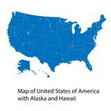 Vector la mappa degli Stati Uniti d'America con l'Alaska e le Hawai Fotografia Stock