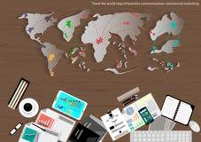 Vector la mappa del mondo del viaggio d'affari, della comunicazione, del commercio, dell'introduzione sul mercato e della progett Immagini Stock Libere da Diritti