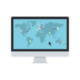 Vector la mappa di mondo con i puntatori della mappa sul monitor del PC Immagini Stock Libere da Diritti