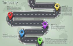 Vector la mappa di mondo infographic, disposizione di cronologia della strada Fotografia Stock Libera da Diritti