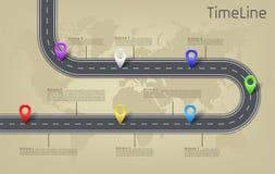 Vector la mappa di mondo infographic, disposizione di cronologia della strada Immagini Stock Libere da Diritti