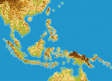 Vector la mappa fisica di Sud-est asiatico ha stilizzato facendo uso degli esagoni impressi Immagini Stock