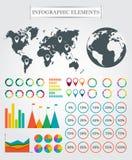 Vector la mappa, gli indicatori, le frecce, torta per infographic Fotografia Stock