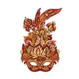Vector la maschera dorata di carnevale per il teatro ed i festival immagini stock