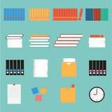 Vector la materia set.book, papel, reloj, caja, nota de la oficina Fotos de archivo
