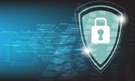 Vector la micro progettazione di nave di tecnologia di sicurezza su fondo blu Immagini Stock