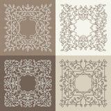 Vector la mono línea floral marco con el espacio de la copia Ilustración del Vector