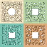 Vector la mono línea floral marco con el espacio de la copia Imagen de archivo