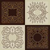 Vector la mono línea floral marcos con el espacio de la copia Stock de ilustración