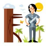 Vector a la muchacha con dos espadas, maniquí de madera del kung-fu de Wing Chun Ejemplo colorido de la historieta del estilo pla ilustración del vector