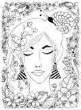 Vector a la muchacha del ejemplo con el caracol del zentangl de las flores en su cabeza, un marco de la flor, garabato, zenart, d Foto de archivo