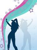 Vector a la muchacha del estilo con las estrellas y las notas de la música Imagen de archivo libre de regalías