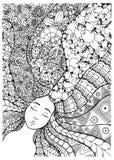 Vector a la muchacha del zentangl del ejemplo con las flores en su pelo Dibujo del garabato Foto de archivo libre de regalías