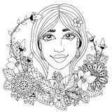 Vector a la muchacha del zentangl del ejemplo con las flores en su pelo Dibujo del garabato Ejercicio meditativo Libro de colorea Fotos de archivo libres de regalías