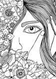 Vector a la muchacha del zentangl del ejemplo en el marco floral Dibujo del garabato Ejercicio meditativo ilustración del vector