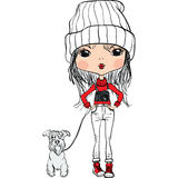 Vector a la muchacha linda del inconformista con un perro y una cámara ilustración del vector