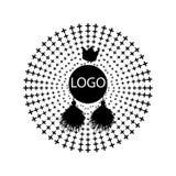 Vector la muestra de la forma del círculo del diseño con los rayos aislados en blanco stock de ilustración