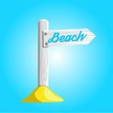 Vector la muestra de madera blanca que señala a la playa Fotos de archivo libres de regalías