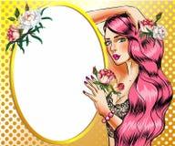 Vector a la mujer del arte pop con el ejemplo rosado del vector del pelo libre illustration
