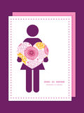 Vector a la mujer rosada de las flores del campo en silueta del amor Imagenes de archivo