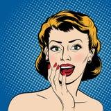 Vector a la mujer sorprendida en el estilo de los tebeos del arte pop Imagen de archivo libre de regalías