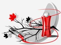 Vector la natura morta con una bottiglia delle foglie del profumo, del rossetto, del ramo e del marple illustrazione vettoriale